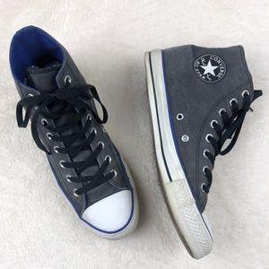 Converse Gray Hi Tops Blue Trim Sneakers